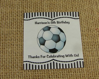 """Personalized Sticker Labels - Soccer Design - Six 3"""" Squares - Birthday Party - Party Favor - Team Party"""