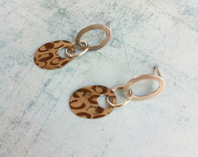Silver & Copper earrings - stud dangle earrings - oval shape