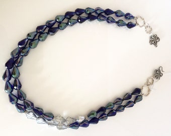 Teardrop Crystal Necklace, Double Strand Crystal Necklace, Cobalt Blue Crystal Necklace, Festive Necklace, Party Necklace