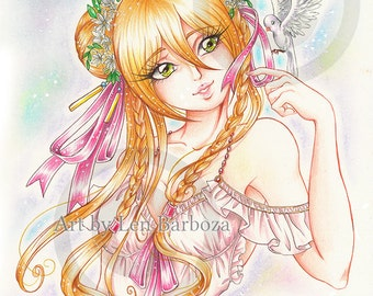 PRINT - Birdy - Color pencils illustration