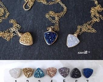 Triangle Druzy Necklace / Mini Arrow Necklace / Gold Geode Necklace / Gold Arrow Necklace / Delicate Gold Necklace / Gold Layering Necklaces
