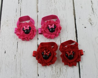 Minnie Mouse Sandals Minnie Mouse Barefoot Sandals Minnie Mouse Baby Girl Sandals Red Minnie Mouse Sandals Hot Pink Minnie Sandals