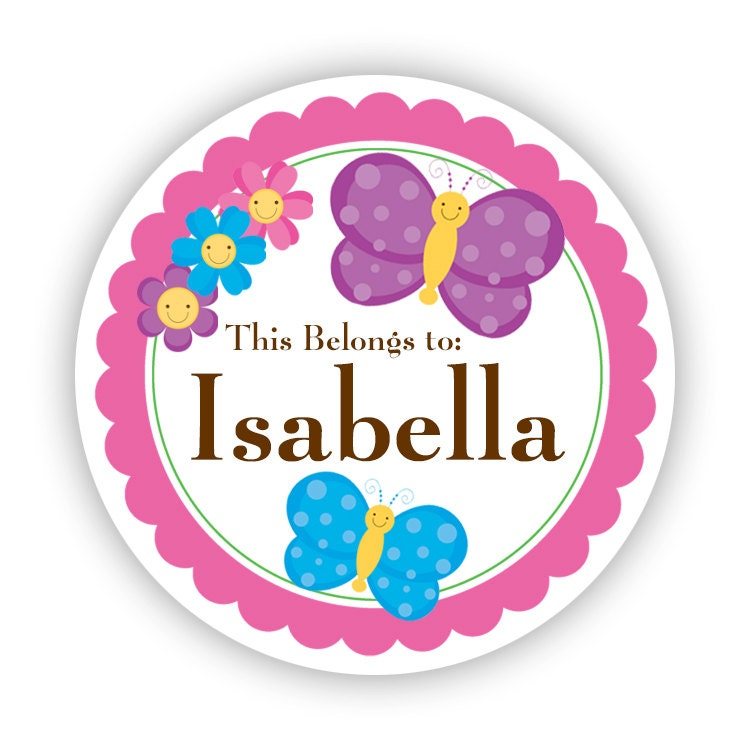 Name Label Stickers - Pink Purple Blue Butterfly
