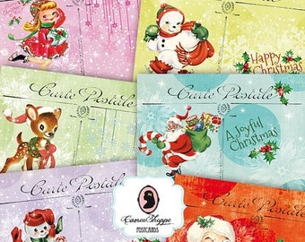 75% OFF SALE Digital Collage Sheet RETRO Christmas Digital Collage Christmas Postcards Set of 8 Digital Postcards DIgital Tags Instant Downl