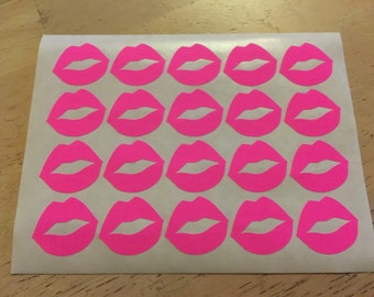 20 Hot Pink Lips Stickers - Pink Lip Stickers / Kiss Envelope Seals / Bridal Shower Stickers / Wedding Invititation Seals / Bachelorette