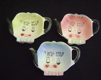 "Vintage Tea Bag Holders "" I Will Hold The Bag"""