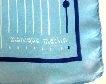 Monique Martin Pure Silk Scarf Sky Blue & Navy Blue Abstract Design 26 Inches Square