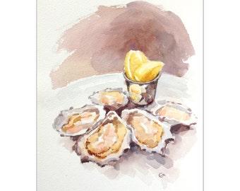 Oysters - Original Watercolor Seafood Painting 9 x 12 inches Food Kitchen Art Decor