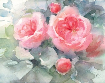 Watercolor Roses, Original Painting Flowers Mother's Day 8x11 inches