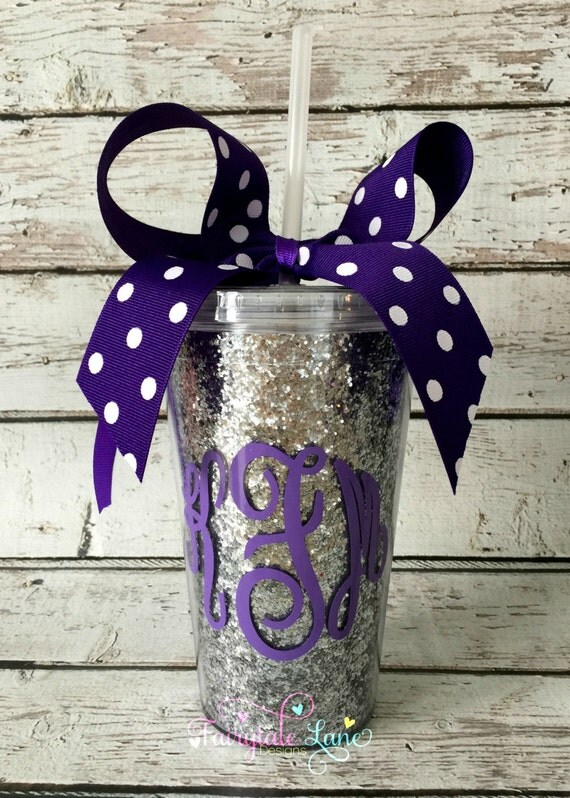 Monogram Personalized 16oz Silver Glitter Tumbler Cup With
