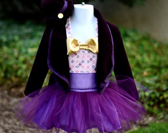 Boutique Custom Handmade Willy Wonka, Chocolate Factory Sizes 24M-10 Birthday, Pageant, Halloween, Photography