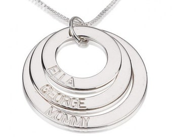 Sterling Silver Engraved 3 Rings Mother Necklace with chain