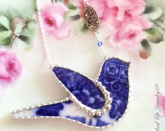 Broken China Jewelry. Broken China Necklace, Flow Blue China, Blue Bird Necklace, Bird, Recycled China, Statement Necklace