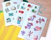 Happy Mail & Planner Sticker Sheets - 3 Designs (Penpal - Snail Mail Love - Illustration - Hand Drawn)