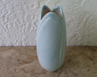 Modernist Vase, Pale Blue Glaze, Flower Petal Rim, Graceful, Mid Century Modern, Powder Blue Glaze, Vintage Art Pottery,