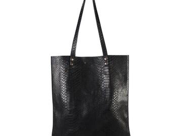 Shopper 'SIMPLE' black python print leather