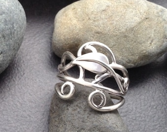Leaf ring sterling silver vines branches tendrils, individually handcrafted fits a bit smaller than size 9 & 1/4, Elfin Works design