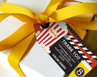 Movie Night Favor Tags - Movie Night Party Favors - Instant Download - Edit file at home with Adobe Reader