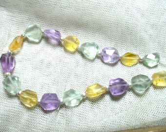 Chunky 17 Pc 82 Ct  Stunning Faceted Amethyst Citrine Green Amethyst  BeadsM67