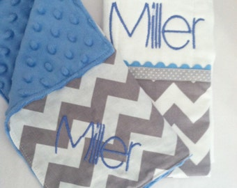 Personalized Burp Cloth and Security Blanket Gift Set...Chevron with Minky...Many Colors...Shower Chic