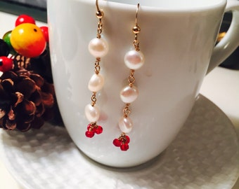 Lustrous Pearl and red czech bead dangle and drop earrings