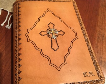 Beaufiful Leather Bible Cover with Cross and Emblelishment