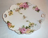 Antique R C Bavaria Rosenthal Malmaison Porcelain Cake Plate with Handles - Pink and Yellow Roses