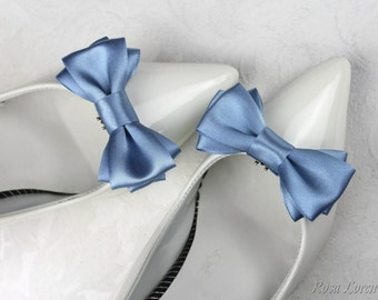 Something Blue Shoe Clips, Dark Blue Bow Shoe Clip, Dusky Blue Wedding Accessories Shoes Clip, Dark Blue Bow Clip Shoes
