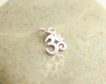 Sterling Silver OHM Charm -- One Piece -- Tiny 925 Sterling Yoga Pendant