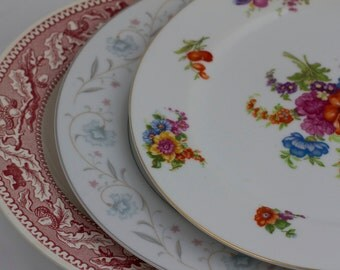 3 Mismatched Vintage Dinner Plates, English Garden, American Limoges Memory Lane Royal China Red Pink White Plates Tea Party Decor