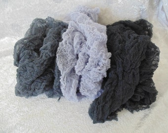 Hand Dyed set of Three Grays...SET of 3 Cheesecloth  PHOTOGRAPHY Wraps...Newborn Wraps Cheesecloth wraps