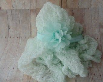 Newborn Photography Chiffon Headband and Cheesecloth set... Baby girl props  Cheesecloth wraps
