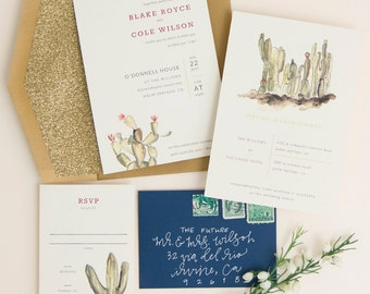 Desert Romance Watercolor Cactus Wedding Invitation