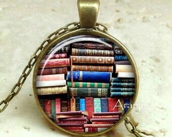 Book pendant, book necklace, book jewelry, books, library necklace, library pendant, bookshelf necklace, Pendant #HG152BR