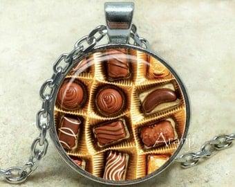 Chocolate art pendant, chocolate necklace, chocolate jewelry, chocolate, candy necklace, sweet necklace, Pendant#HG178P
