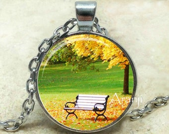 Autumn bench art pendant, autumn necklace, autumn jewelry, fall pendant, fall necklace, park bench pendant, fall, Pendant #SP101P