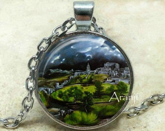 El Greco View of Toledo art pendant, El Greco necklace, View of Toledo necklace, Toledo pendant, fine art necklace, El Greco Pendant #AR125P
