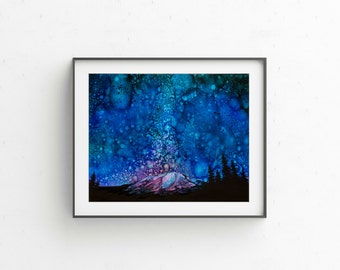 "Giclee PRINT of ""What Dreams Are Made Of"" Mountain Galaxy Night Sky Wall Art Painting"
