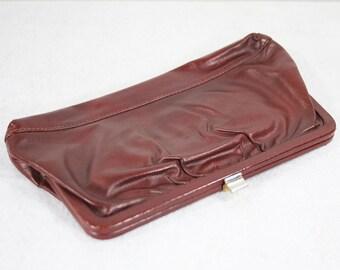 10 Dollar Sale---Vintage 70's Reddish Brown Leather Clutch Purse