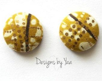 SMALL Golden Ankara Button Earrings