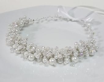 Bridal Pearls Crown,Bridal Tiara,White Pearls Headpiece,Pearls and Crystals Hair Accessories,Wedding Headband,Bridal Crown by CyShell.