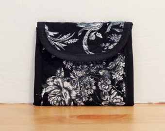 Black White Rose Grey Print Quilted Wallet