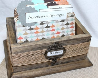 Recipe Box, Barnwood Box, Rustic Recipe Box, Gray, Taupe, Brown, Orange, Aqua Dividers, Rustic Kitchen, Modern Recipe Box
