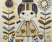 Screen Print Big Eyed Girl & Kitty Cat in the Garden Metallic Gold Black Ink Vintage Floral Flowers Children's Art Nursery