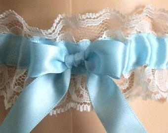 Blue and Ivory Lace Wedding Garter, Bridal Garter, Prom Garter, Wedding Gift, Bridal Gift