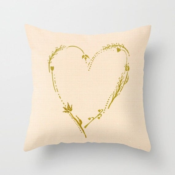 Items similar to Blush Pink & Gold Heart Throw Pillow Cover, blush pink pillow, valentine s ...
