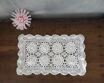 crochet small table cloth- white antique style fiber art- grandmothers living