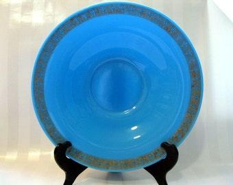 French Blue Opaline Glass Console Bowl, Large with Gold Fleur-De-Lis Trim