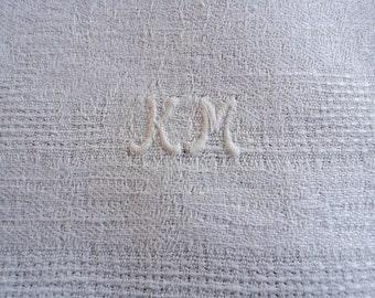 Vintage Huck Towels Monogram KM