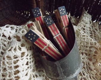 American Flag Primitive Patriotic Painted Clothespin Rustic Flag Clothespin